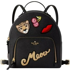 Kate Spade Meow Saffiano Small Black Backpack